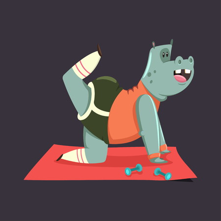Cute Hippo cartoon character doing exercises for buttocks. Fitness and healthy lifestyle. Vector illustration of fat funny animal isolated on background. Vettoriali
