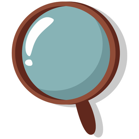 Magnifier glass vector icon isolated on white background. Cartoon hand drawn illustration.