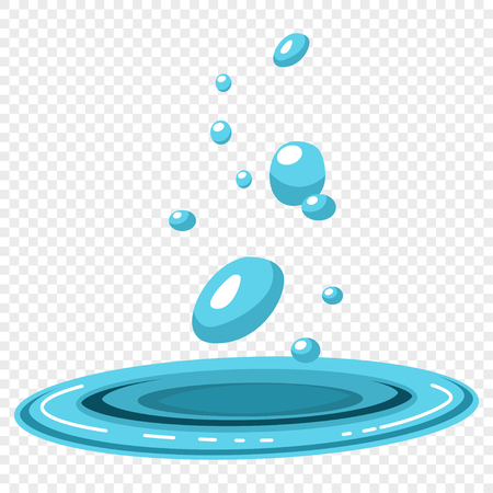Water drops falling in a blue puddle. Vector illustration on a transparent background. Illustration