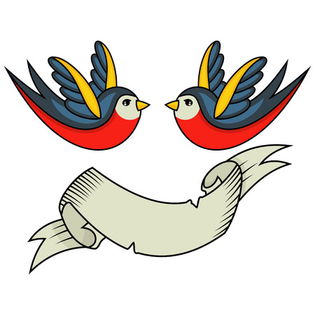 Swallow bird tattoo and ribbon banner for an inscription. Old school retro style vector illustration on white background. Vectores