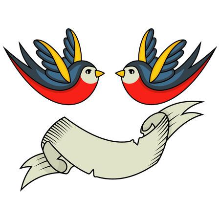 Trague el tatuaje del pájaro y la bandera de la cinta para una inscripción. Ilustración de vector de estilo retro de la vieja escuela sobre fondo blanco. Ilustración de vector
