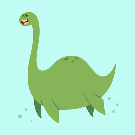 Cute cartoon loch ness monster. Vector illustration of a nessie character isolated on a blue background. Illustration