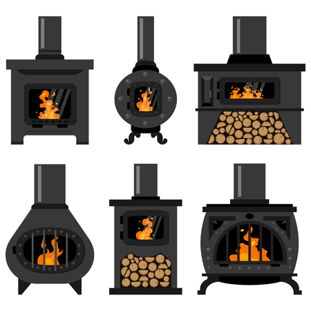 Iron wood burning stove with firewood and fire set. Vector flat old vintage fireplaces isolated on a white background. Ilustração