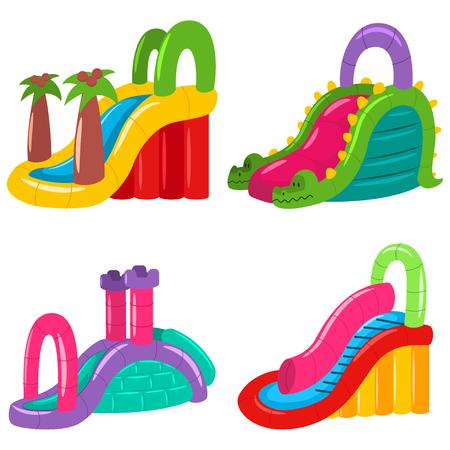 Toboganes de agua hinchables para niños de diferentes formas. Conjunto de iconos de vector de parque de atracciones de verano aislado sobre fondo blanco. Ilustración de vector