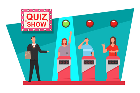 Diseño de concepto de programa de TV de juego de preguntas. Vector ilustración plana de la gente en el podio.