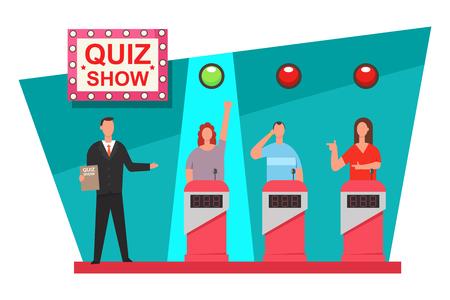 Quiz gioco TV show concept design. Vector piatta illustrazione delle persone sul podio.