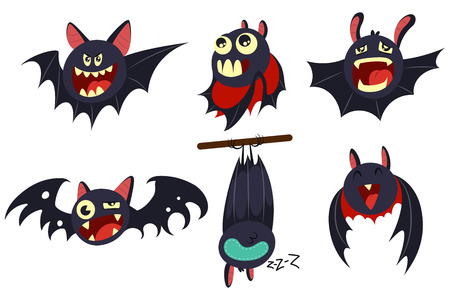 Vampire bat vector cartoon character set isolated on white background. ?ute personage with different emotions for Halloween. 向量圖像