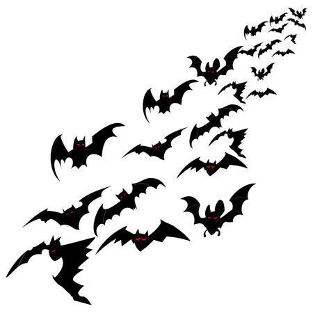 Flock of bats isolated on a white background. Vector illustration for Halloween.  イラスト・ベクター素材