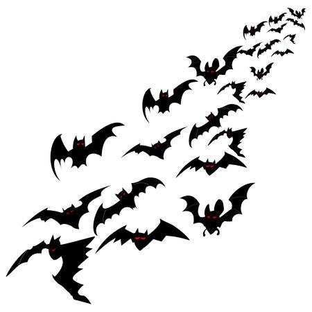 Bandada de murciélagos aislado sobre un fondo blanco. Ilustración de vector de Halloween.