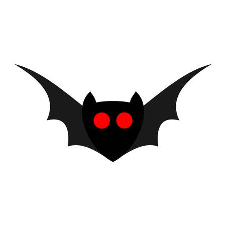 Bat with red eyes isolated on a white background. Vector cartoon illustration for Halloween.