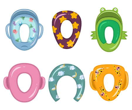 Child toilet seats of different shapes, types and patterns with giraffe, clouds, stars and octopuses. Vector cartoon flat icons set isolated on white background.