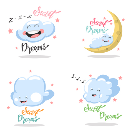 Sweet Dreams hand drawn lettering with cute cartoon clouds with kawaii emotions. Vector set isolated on white background.