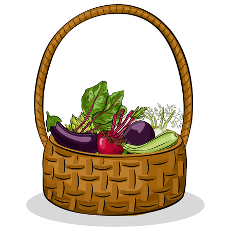 Vegetables basket with fresh healthy organic food. Vector cartoon illustration isolated on white background.