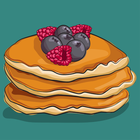 Pancake with fruit: raspberries and blackberries, isolated on background. Traditional breakfast. Vector cartoon food icon.