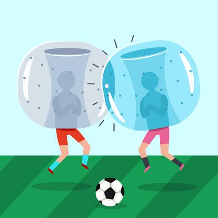 Dos tipos con trajes inflables de zorb juegan al fútbol. Bola de parachoques un partido de fútbol. Ilustración plana de dibujos animados de vector. Ilustración de vector
