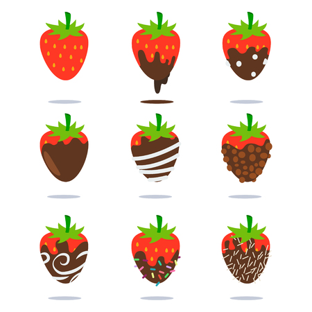 Schokoladenüberzogene Erdbeervektor-Karikaturflachfruchtikonen stellten lokalisiert auf weißem Hintergrund ein.