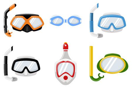 Masques de plongée pour la plongée et la natation de différents types. Jeu d'icônes plat de dessin animé de vecteur isolé sur fond blanc.