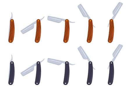 Barber gerade Rasiermesser Vektor Cartoon flache Ikonen gesetzt lokalisiert auf Hintergrund. Vektorgrafik