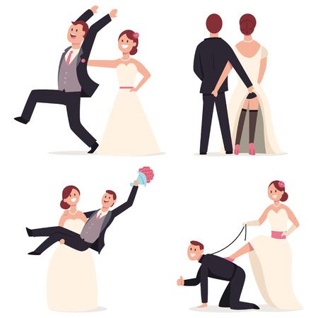 Primeros de la torta de boda divertidos. Figuras de la novia y el novio en poses alegres. Vector de dibujos animados plana pareja de recién casados personaje aislado sobre fondo blanco.