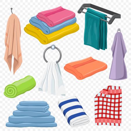 Juego de toallas: colgantes, blancas, playa, roll, para spa, cocina, baño y otros. Iconos de dibujos animados vectoriales aislados sobre un fondo transparente.