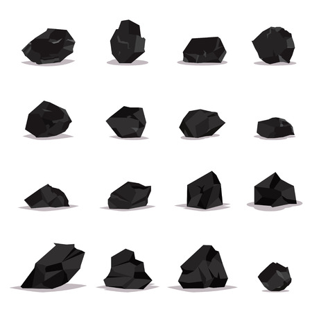 Coal vector cartoon set of flat icons isolated on white background. Illustration of black rock stones, graphite and charcoal. Illustration