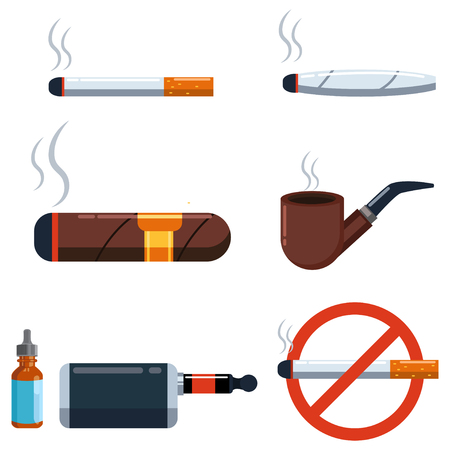 "?igar, cigarette, jamb with marijuana, wooden and electronic pipe with tobacco and smoking liquid and a prohibition sign ""No Smoking"". Vector set of flat icons isolated on white background."