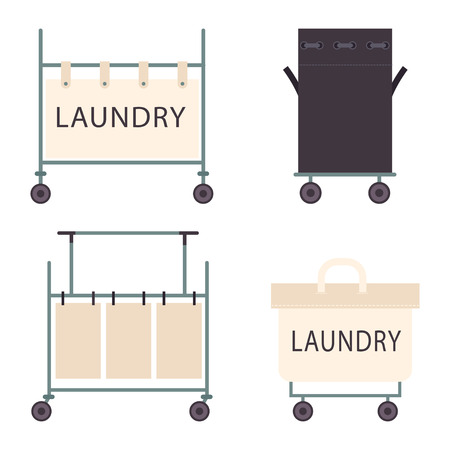 Laundry hamper with wheels vector flat icons set isolated on a white background.