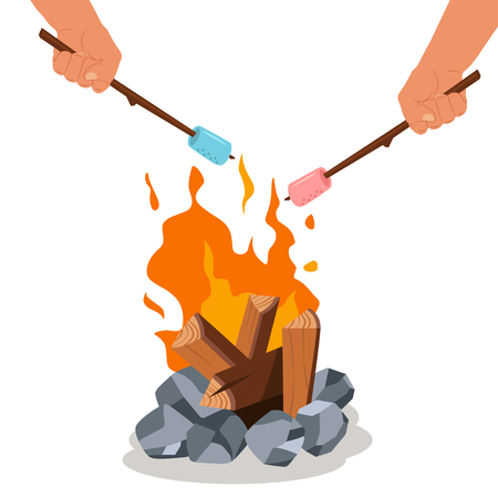 Campfire and grill marshmallow on the stick in hands. Vector cartoon bonfire icon isolated on a white background.