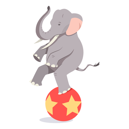 Elephant balances on the ball. Vector cartoon circus animal character isolated on white background.