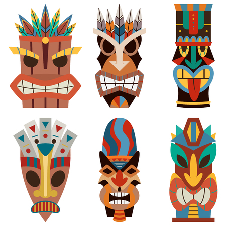 Tiki mask vector set of cut wooden hawaiian and polynesian guise. Sculpture flat icons isolated on white background.