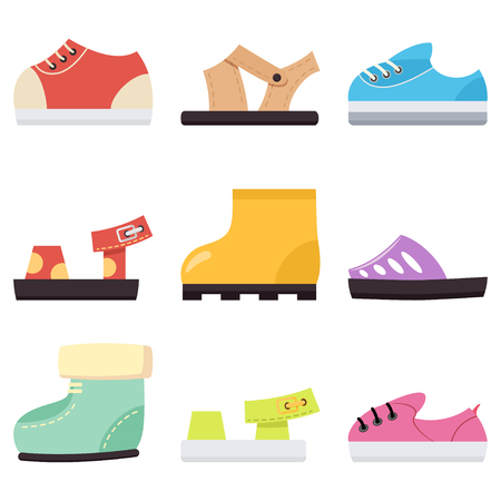 Kids shoes for baby boy and girls set. Childrens sneakers, sandals and boots vector cartoon flat icons isolated on white background.