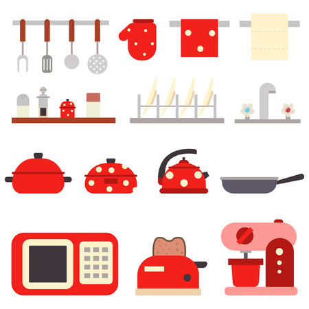 Kitchen tools for cooking. Utensil and household appliances vector flat set isolated on white background.