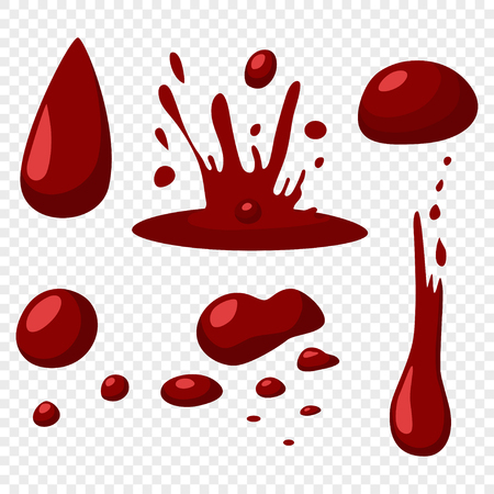 Blood drops and splashes vector flat icons set isolated on transparent background.