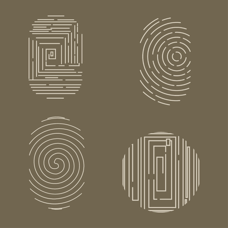 Fingerprint vector icons set isolated on background. Çizim