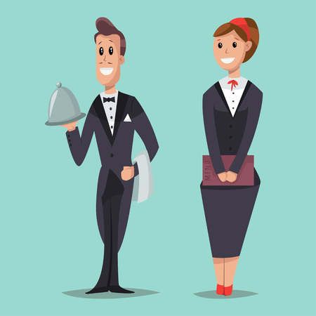 Waitress with a menu and a waiter with a tray. Vector cartoon character of male and female servant. Service staff for hotels, restaurants, etc. in women's classic suit and a man's tailcoat.