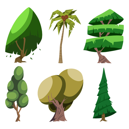 Cartoon trees of different breeds set: palm, oak, tree and others. Vector illustration isolated on white background.