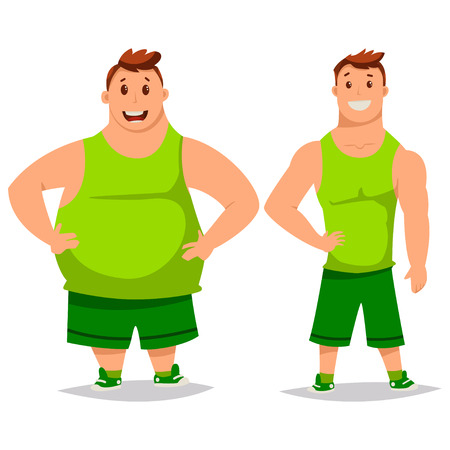 Homme gros et mince avant et après la perte de poids. Régime et remise en forme. Illustration vectorielle de dessin animé sur fond blanc. Vecteurs