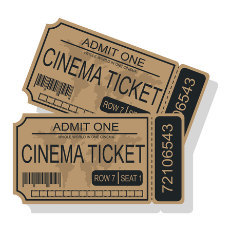 cinema ticket with a world map barcode and tear off coupon