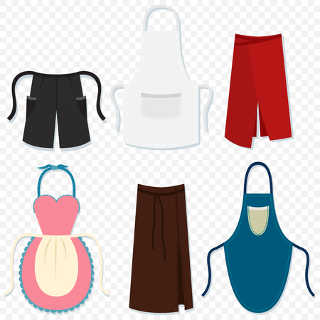 Aprons for man and woman, waiter, chef, kitchen, housewife, etc. Vector cartoon set flat icons isolated on transparent background. Vetores