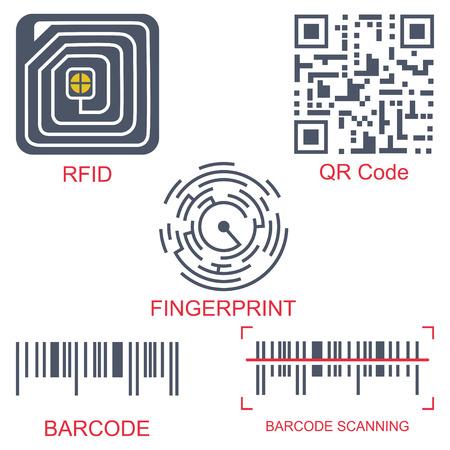 Rfid-tag, qr-code, vingerafdruk en barcode vector platte pictogrammenset geïsoleerd op een witte achtergrond. Radiofrequentie-identificatie en scantechnologie. Vector Illustratie