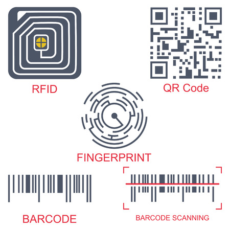 Rfid tag, qr code, fingerprint and barcode vector flat icon set isolated on a white background. Radio-frequency identification and scanning technology.