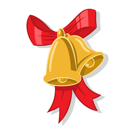 Christmas jingle gold bells with a red bow. Vector cartoon flat icon isolated on a white background.