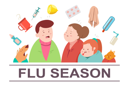 Cold and flu season vector cartoon illustration. Sick family with cat, dog and medicine pills and food. Ill people character isolated on background.