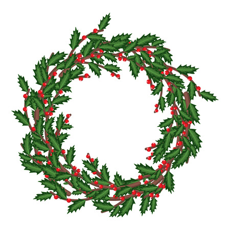 Christmas holly berry wreath. Vector cartoon holiday decoration element isolated on a white background.