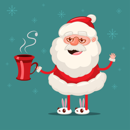 Happy Santa Claus with red coffee cup. Vector Christmas cartoon character isolated on snowflakes background. Stock Illustratie