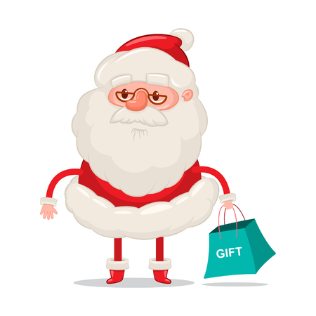 Funny Santa Claus with shopping bag. Vector Christmas cartoon character isolated on white background.