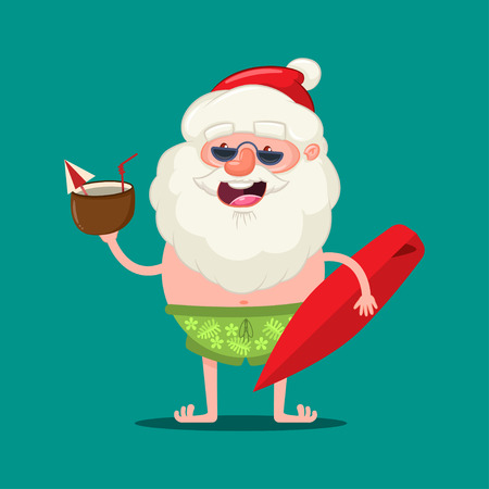 Summer Santa Claus in sunglasses and shorts with a coconut cocktail and surfboard. Vector Christmas cute cartoon character isolated on background.
