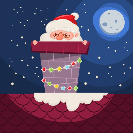 Santa Claus stuck in the chimney with garland on the roof. Vector cartoon Christmas funny character isolated on winter night background. Vetores