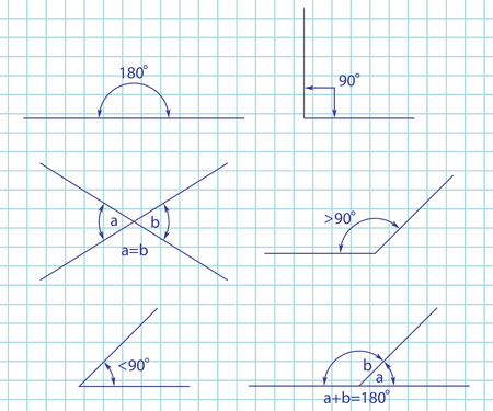 Tipos de ángulos: obtuso, recto, agudo, recto, suplementario y opuesto. Conjunto de vectores aislado en una página de cuaderno de papel.