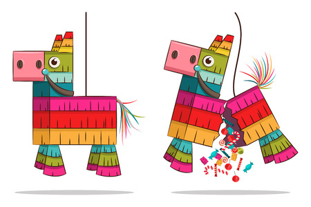 Mexican pinata horse with candy. Vector cartoon animal toy illustration isolated on white background. Illustration